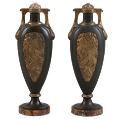 Pair Tall Art Nouveau Green and Gilt Metal Vases