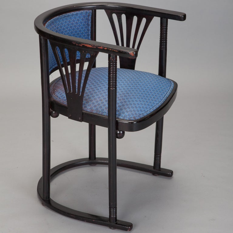 Austrian Pair of Josef Hoffmann Armchairs with Blue Upholstery For Sale