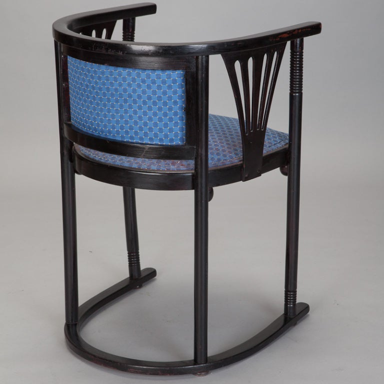 Pair of Josef Hoffmann Armchairs with Blue Upholstery In Good Condition For Sale In Troy, MI