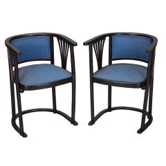 Pair of Josef Hoffmann Armchairs with Blue Upholstery