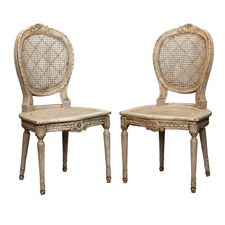 Six French Painted And Caned Oval Back Chairs At 1stdibs