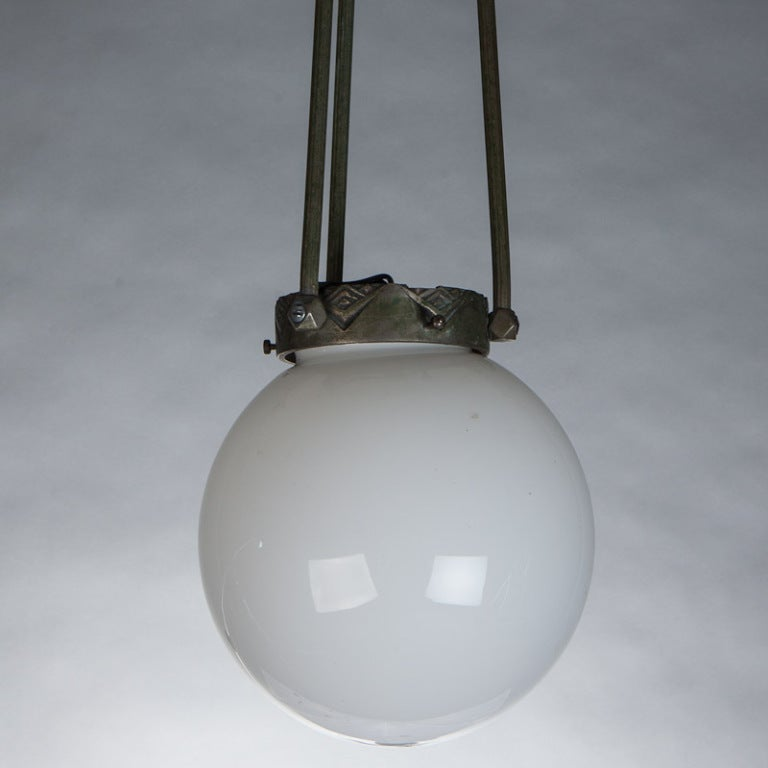 this 19th century glass globe and bronze hanging light fixture is no. Black Bedroom Furniture Sets. Home Design Ideas