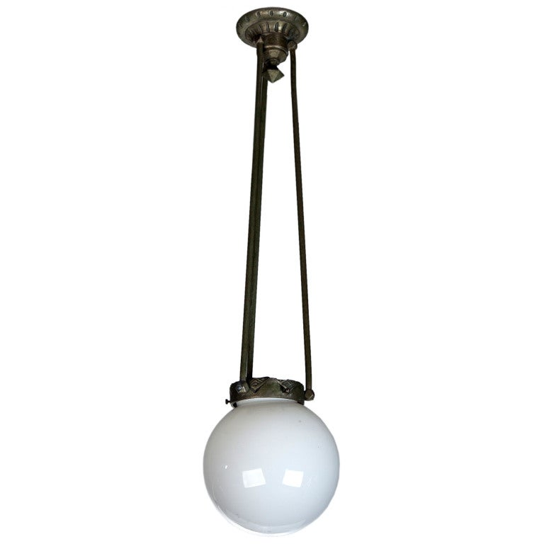 19th Century Glass Globe And Bronze Hanging Light Fixture