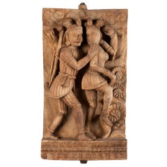 Late 19th Century Carved Hindu Temple Panel