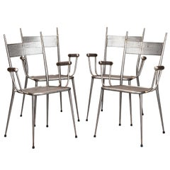 Set of 4 French  Industrial Metal Mesh Armchairs