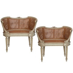Pair Louis XV Small Caned Settees