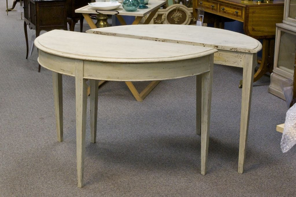 Marvelous Pair Of Antique Swedish Demilune Tables 2