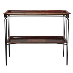 French Two Tier Console with Metal Base and Tole Trays