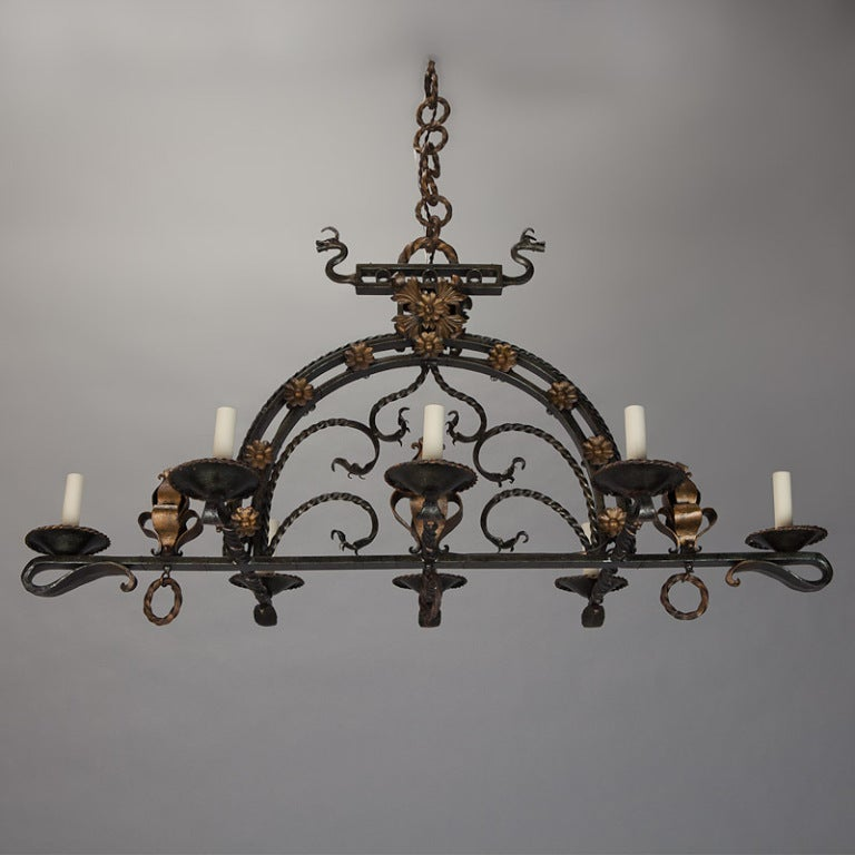 French Wrought Iron Eight Light Chandelier At 1stdibs