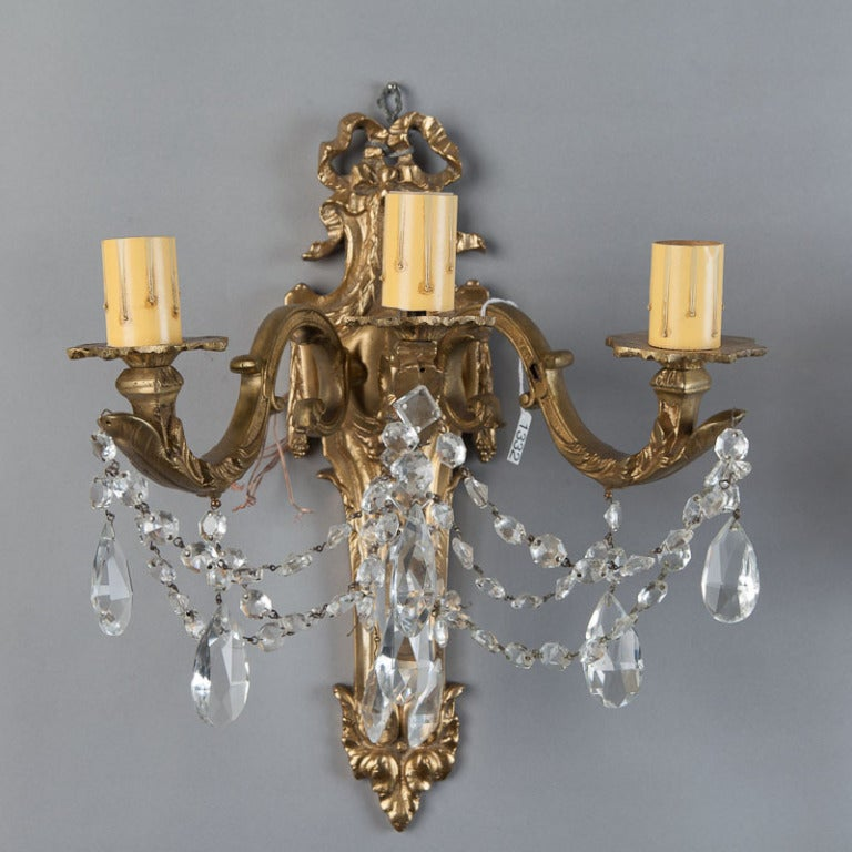 Pair of Large French Brass and Crystal Three Light Sconces at 1stdibs