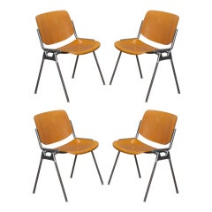 Set of Four Mid Century Castelli Birch and Aluminum Chairs