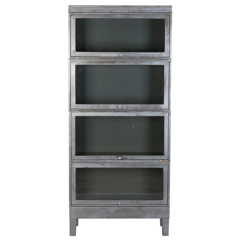 Industrial Stacking Glass Front Barrister Bookcase At 1stdibs