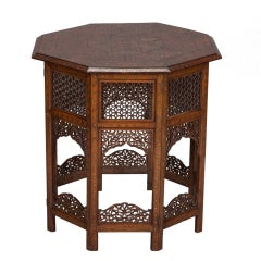 Moorish Table With Extensive Brass Inlay