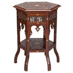 Tall Moorish Table with Carving and Inlay