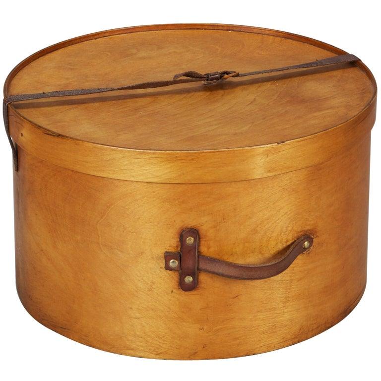 Large Mens Wooden Hat Box