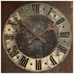 Huge French Black and White Clock Face