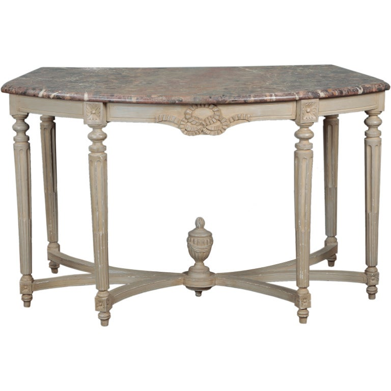 Monumental French Painted Console Demilune Table For Sale