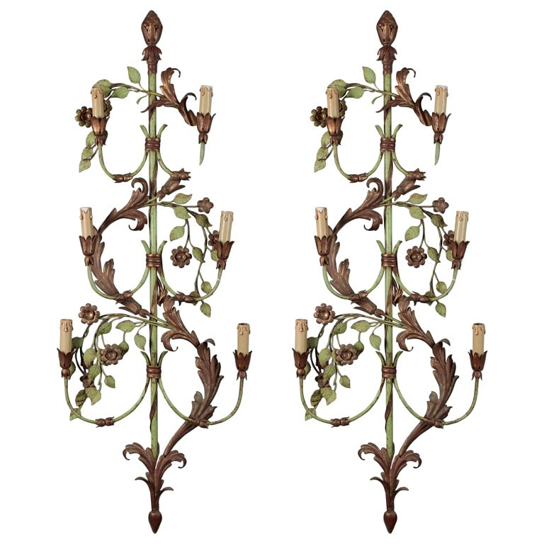 Pair of French Tall Six-Light Green and Gilt Tole Sconces For Sale