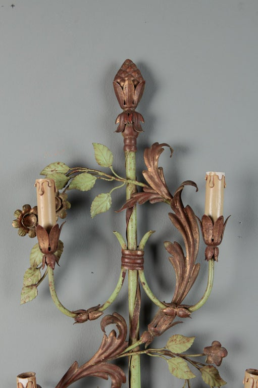20th Century Pair of French Tall Six-Light Green and Gilt Tole Sconces For Sale