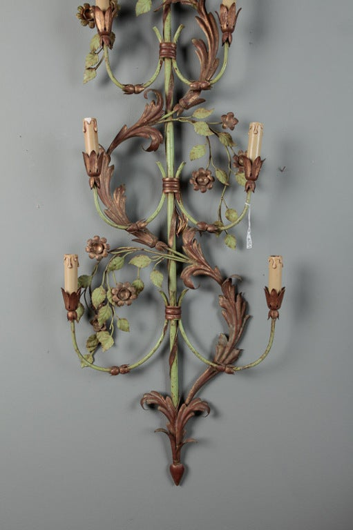 Metal Pair of French Tall Six-Light Green and Gilt Tole Sconces For Sale