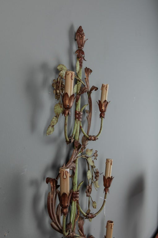 Pair of French Tall Six-Light Green and Gilt Tole Sconces For Sale 2