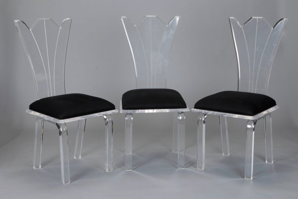 Set of six lucite dining chairs with carved fan backs and newly ...