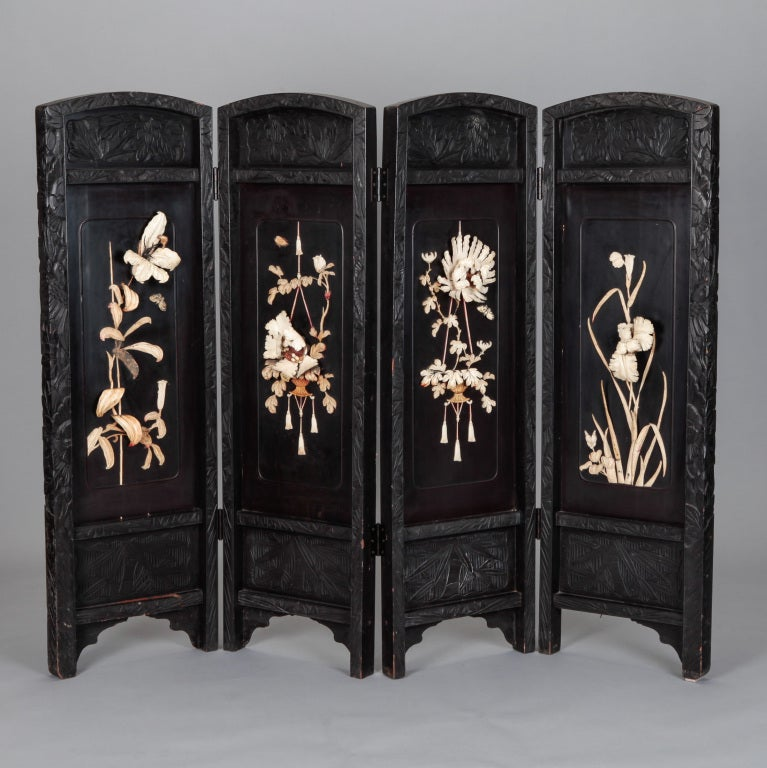 Japanese carved wood and soapstone four panel screen at