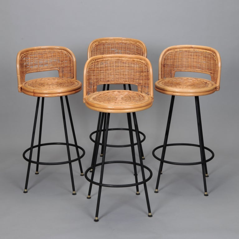 Set Of 4 Mid Century Rattan Swivel Bar Stools In Style Of