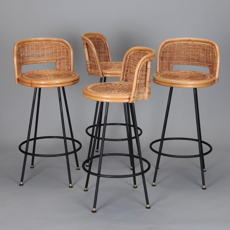 Set of 4 Mid Century Rattan Swivel Bar Stools in Style of Danny 3 & Set of 4 Mid Century Rattan Swivel Bar Stools in Style of Danny at ... islam-shia.org