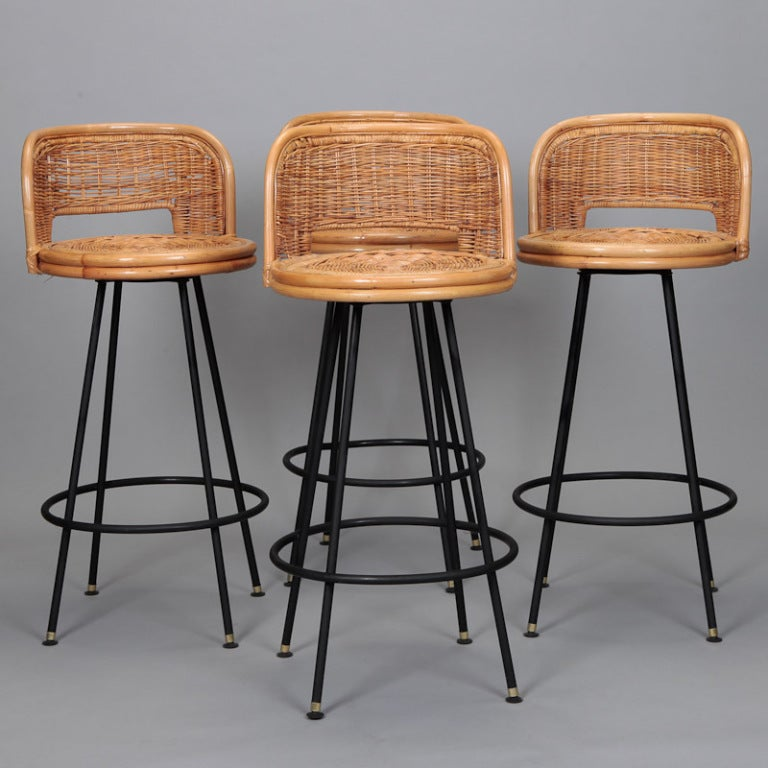 Set of 4 Mid Century Rattan Swivel Bar Stools in Style of  : 899913461232844 from 1stdibs.com size 768 x 768 jpeg 73kB