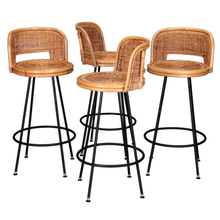 Set of 4 Mid Century Rattan Swivel Bar Stools in Style of  : XXX899913461232841 from www.1stdibs.com size 768 x 768 jpeg 77kB