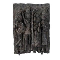 Nigerian Bronze Plaque with Four Warriors