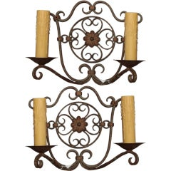Pair Large Two Light Scrolled Iron Sconces