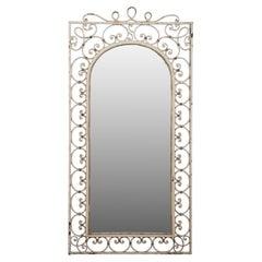French White Painted Iron Mirror