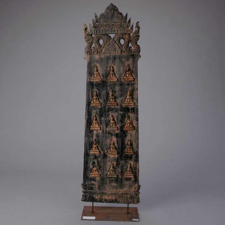 Large carved wood panel from bali image