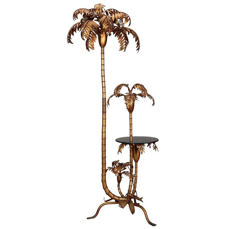 Maison Jansen Bronze Palm Tree Table And Floor Lamp At 1stdibs