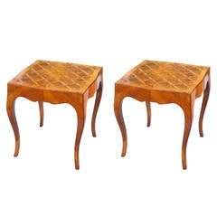 Pair of Northern Italian Olivewood Parquetry Accent Tables