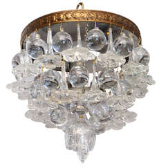 Outstanding Petite Ceiling-mount Fixture with Blown Glass Ornaments