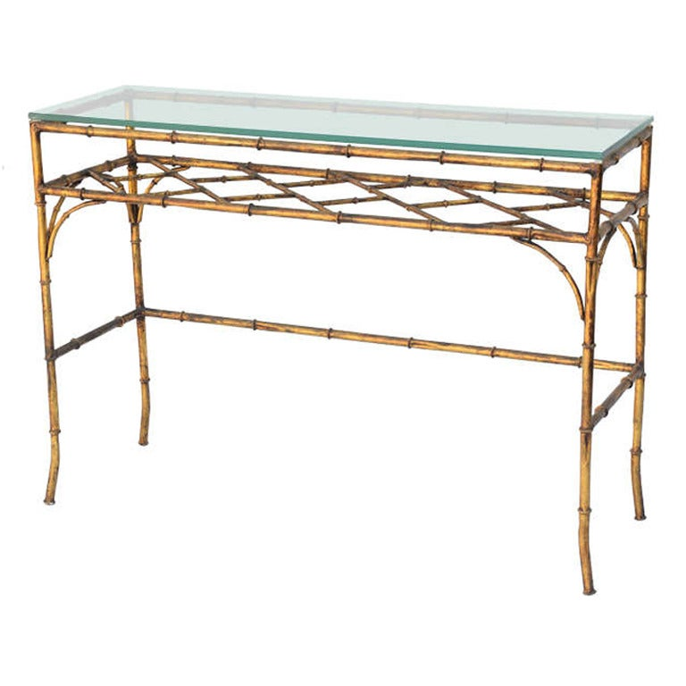 Lovely Gilded Iron Faux Bamboo Console Table 1