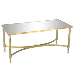 Brass Cocktail Table with Mirrored Top