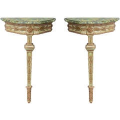 Pair of 19c. Italian Single Leg Console Tables