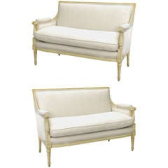 Pair of Swedish Style Upholstered Settees