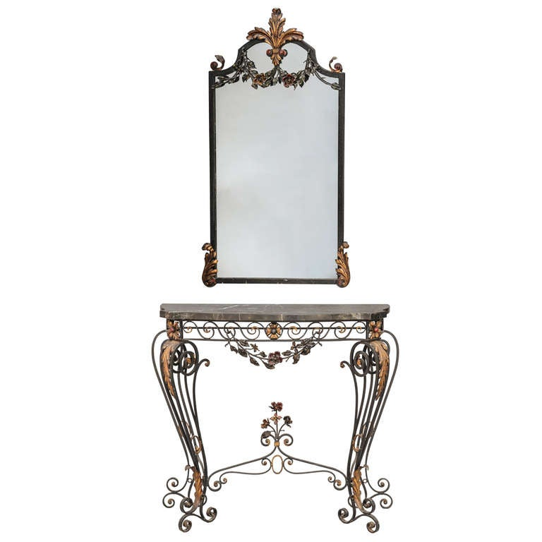 Polychromed Iron Mirror and Console