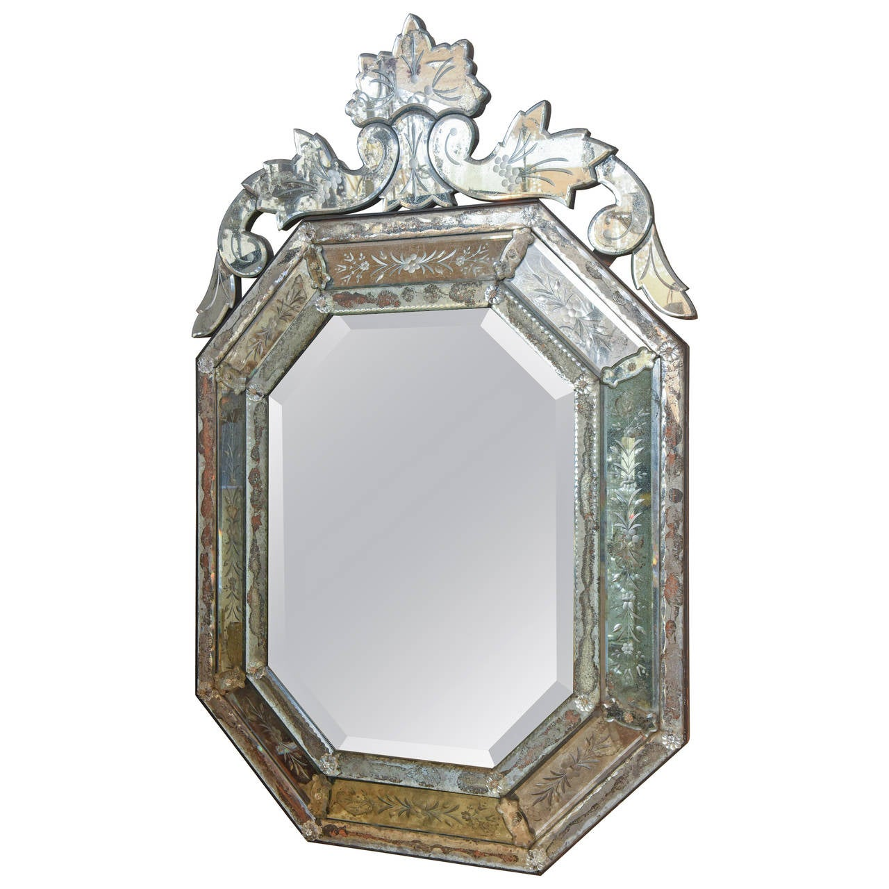 Octagonal etched venetian mirror for sale at 1stdibs for Mirrors for sale