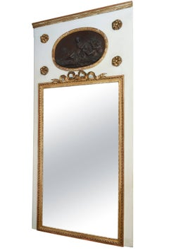 19th Century Monumental Trumeau Mirror, Inset with Plaque after Clodion