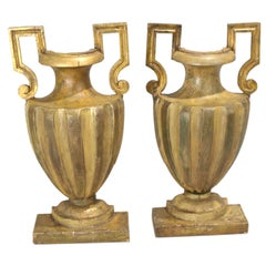 Pair of 18th Century Half-Urn Carved Wood Decorations