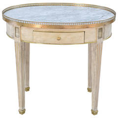 Painted Oval Bouillotte Occasional Table with White Marble Top