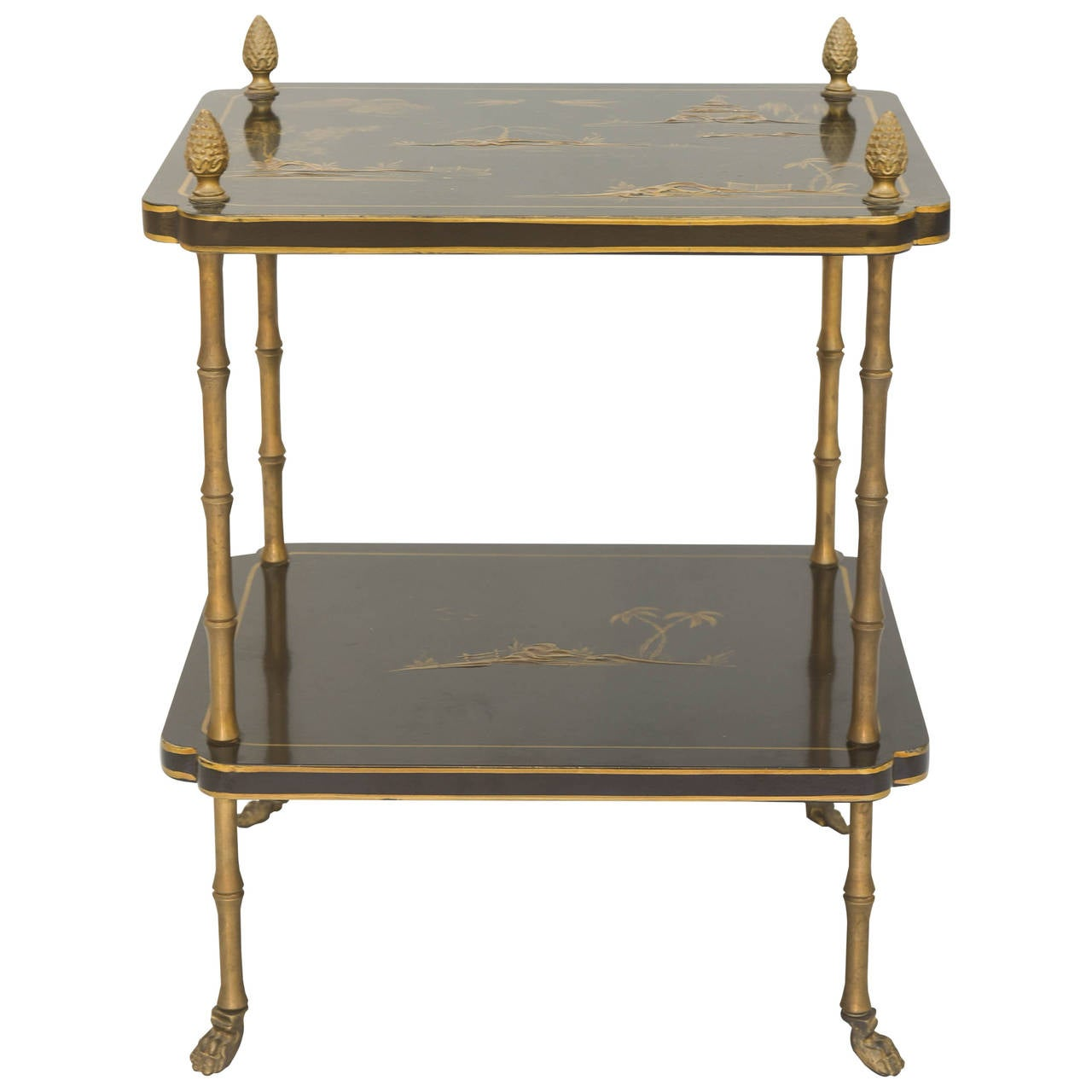 Japanned Two Tier Accent Table With Brass Faux Bamboo Legs 1