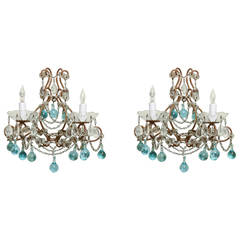 Pair of Two-Light Italian Sconces with Light Blue Ball Drop Crystals