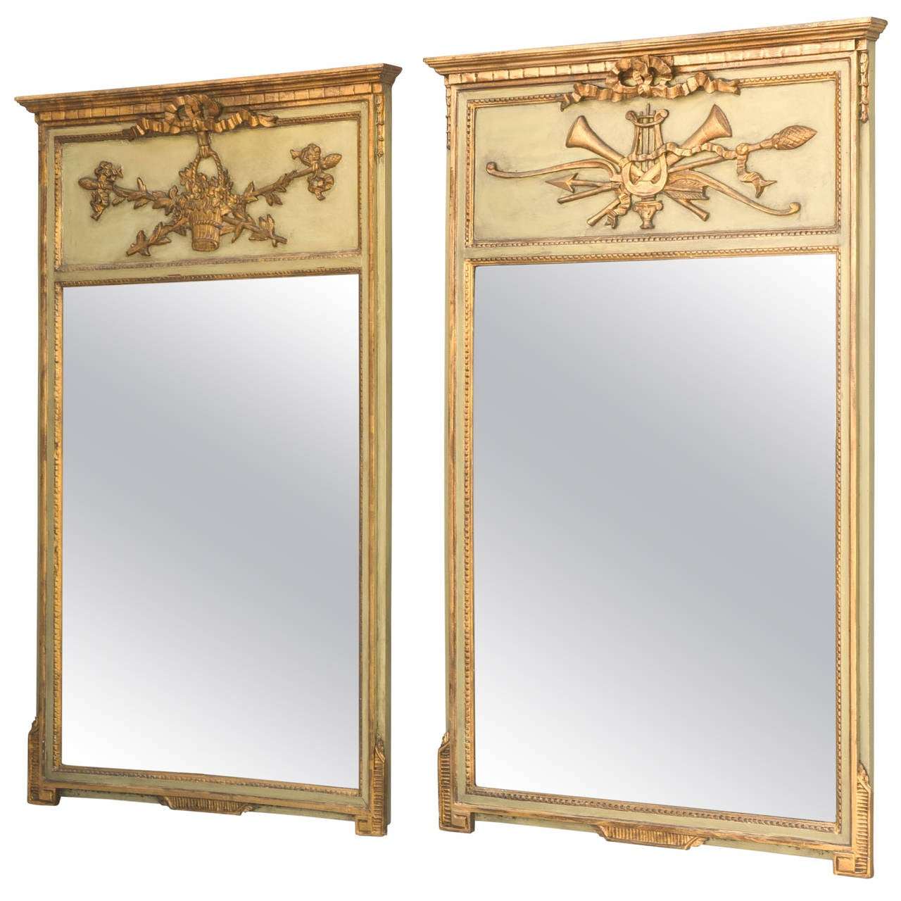 """Pair of """"His and Hers"""" Trumeau Mirrors"""